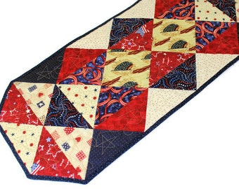 Red White and Blue Quilted Table Runner, Patriotic Quilt,  4th of July Table Runner, Triangles Runner, Quiltsy Handmade Patchwork Quilt