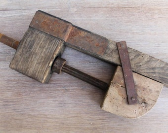 Antique wood clamp, Woodworker clamp, vintage tool