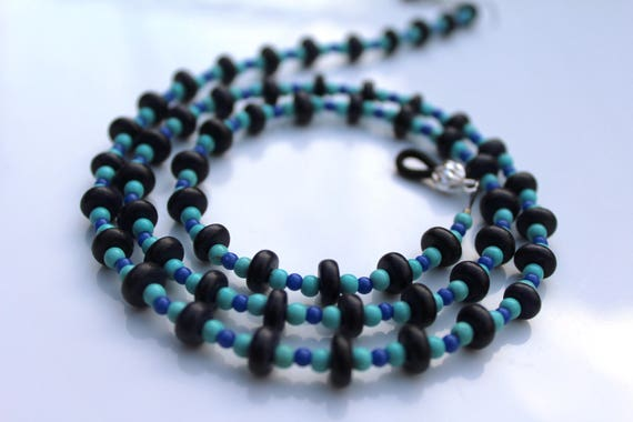 Glasses Chain, Boho Bead Eyeglass Chain, Turquoise Light Weight Lanyard, Black and Blue Accessory