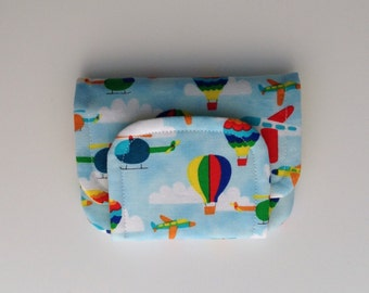 NEW planes helicopters and balloons children's fabric wallet / purse . Flying vehicles with yellow lining . kids coin purse .