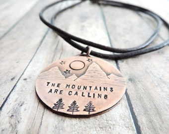 Full Moon Mountain Necklace - John Muir The Mountains are Calling - Mountain Jewelry - Outdoor Gift for Her - Nature Jewelry - Hiker Gift