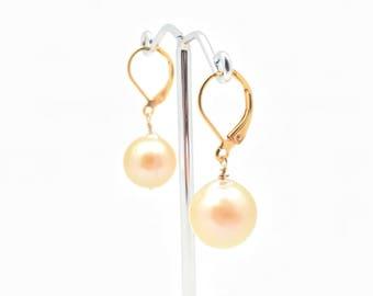 Pearl Earrings // 18K Gold Fill // Wire Wrapped Pearl Earrings // Peach Color Pearl Earrings