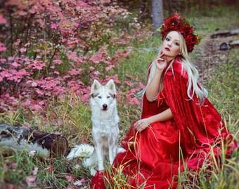 Flower Crown/ Flower Headdress/ Floral Headdress/ Red Riding Hood/Renaissance Day of the Dead Headdress/ Bridal/Bohemian/ Flower Head Piece/