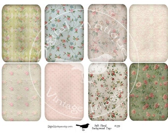 Soft Vintage Floral Tags Instant Digital Download
