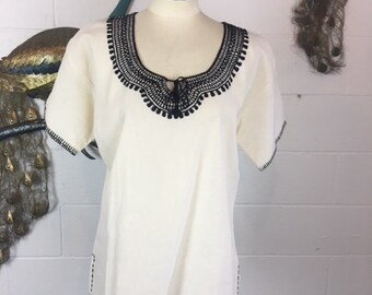 Embroidered Black Peasant Top