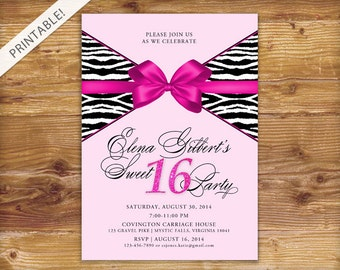 Hot Pink Sweet 16 Invitation - Zebra Sweet Sixteen Birthday Invite - Pink and Black - Animal Print - Printable Digital File