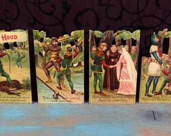 Antique Robin Hood Die Cut Scraps, Raphael Tuck Victorian Diecuts, Maid Marian Wedding Folk Tale Archery German Vintage Late 1800s