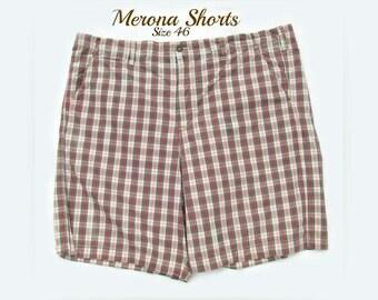 70's 80's men's shorts, men's shorts, men's plaid shorts,  men's retro shorts, Size 46,    # 38