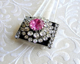 Art Deco Style Hair Comb Pink Rhinestone Comb Black Enamel Hairpin Great Gatsby Downton Abbey Formal Hairstyle Wedding Bridesmaid Prom Bling