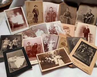 29 Antique Victorian Edwardian Photographs Carte de Visites with Tintype, c. 1890 - 1910