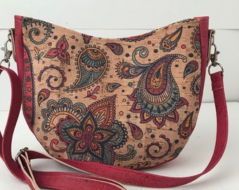 Cork Bag/Hobo Bag/Crossbody Bag/Purse/Pouch with Adjustable Strap- Indian Paisley w/Dark Pink Cork
