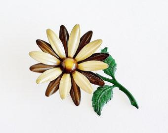 Large Enamel Daisy Brooch Pin