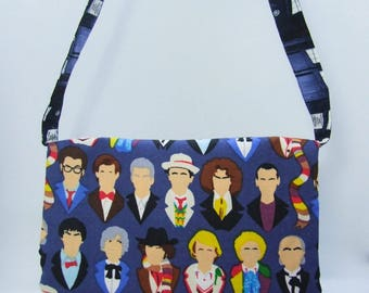 Doctor Who pleated purse, all twelve doctors and the TARDIS