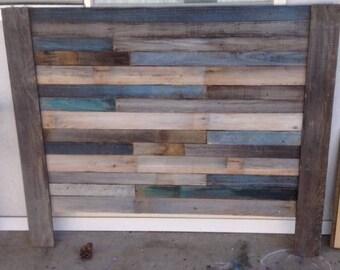 Blue Reclaimed Wood headboard