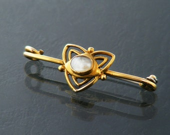 Edwardian Brooch 9ct Gold | Antique Brooch Real Pearl | 1905 English Hallmarks 9ct Solid Gold & Blister, Mabe Pearl Pin