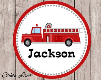 Printable Personalized Fire Truck iron on Tshirt Transfer Design.  FireTruck Iron On Transfer.  Personalized iron on. Fireman Shirt.