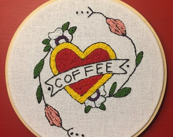 Coffee Love Heart Traditional Tattoo Flash Hand Embroidery 6 inch