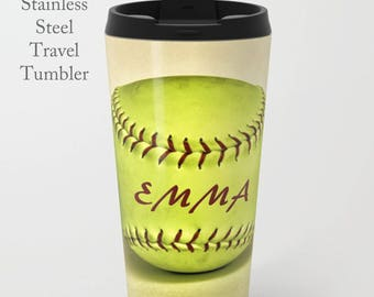 Softball Coffee Tumbler-Stainless Steel Travel Mug-Coffee Tumbler-Softball Coffee Tumbler-Insulated Travel Mug-Personalized Mug-Coach Gift