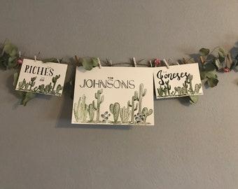 "Custom Name Watercolor ""Soft or BOLD Cacti"""
