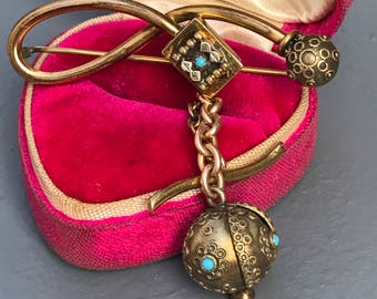 Antique Ball Dangle Pin . brooch  .  Victorian Etruscan Revival Jewelry