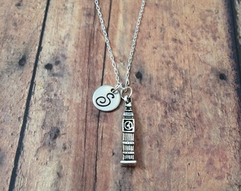 Big Ben initial necklace - Big Ben jewelry, Europe necklace, world travel jewelry, London jewelry, travel jewelry, UK necklace, London charm
