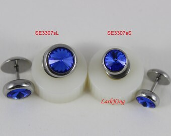 Blue stud earrings, blue studs, blue earrings, stud earrings, stainless steel studs, bridesmaid gift, unique gifts for her, LarkKing SE3307