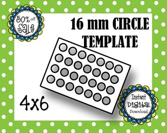 16 mm Circle Template- Jewelry Making- Digital Download- Commerical Use- DIY Digital Template