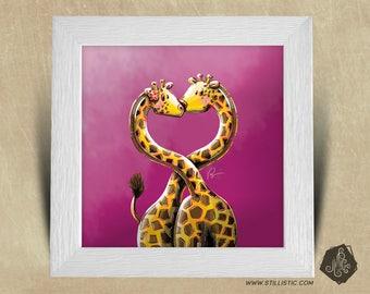 Frame square 25 x 25 birth gift with love giraffes Illustration nursery kids baby