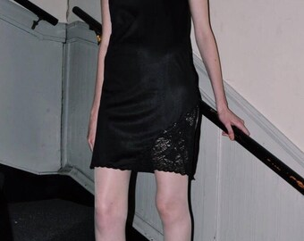 Vintage Strapless Black Slip Dress