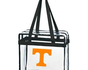 Stadium Approved Clear Tote/Add Custom Monogram/ Personalized Game Day Bag with Zipper Closure