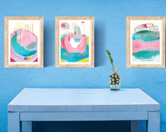 3 Piece Abstract Painting - Abstract Acrylic Painting - Pink Abstract  Art - Abstract White And Pink Painting - Original Pink Art