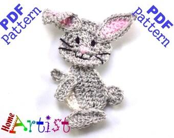 Rabbit Bunny Crochet Applique Pattern