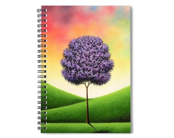 "Purple Tree Spiral Notebook, Multicolored Notepad, Tree Notebook, Pretty Tree Journal, 6x8"" Spiral Journal, Fun Stationary, Prayer Journal"
