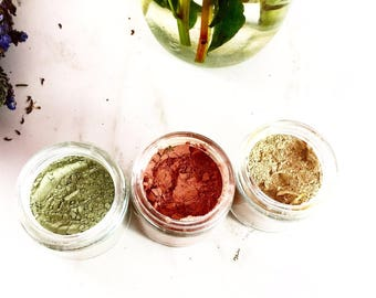 Clay Face Mask Trio Rose Clay French Green Clay Kaolin Clay Turmeric Kelp Calendula