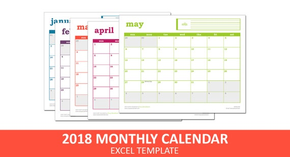 Easy Event Calendar 2018 Printable Excel Calendar Template