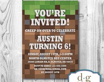 Birthday Invitation, Video Game Party, Mine Birthday Invitation, Mining Birthday, PRINTABLE