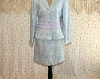 90s Pastel Spring Suit Womens Tweed Skirt Suit Petite Medium Boho Light Blue Lavender Chadwicks 1990s New Vintage Clothing Womens Clothing