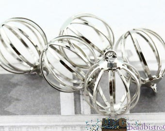 VINTAGE round cage - hollow metal ball charm - Silver tone charm - 24mm - 4pcs