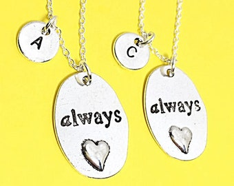 SET OF 2 Always Necklace with Initial Charm Friendship Necklace Jewelry Necklace Always Charm Necklace Silver Charm BFF Gift For Best Friend