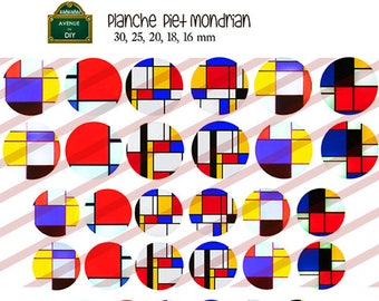 Board of Piet Mondrian digital images to create round cabochon (30 25 20, 18, 16 mm mm)
