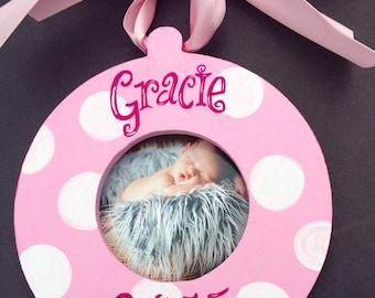 Custom Photo Picture Ornament Christmas, Holiday, Birth, Personalized Custom   Choice of Colors