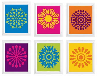 flower burst wall art for childrens nursery - digital print wall decor- Choose any  (6)