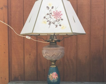 Electric Oil Lamp with Large Floral Inlaid Lampshade & Glass Globe Chimney | Flowers and Butterfly Design | Brass Trimmings and Metal Base