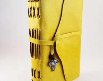 Small Elephant Pocket Journal- handmade sketchbook, peacock diary, leather notebook, yellow book