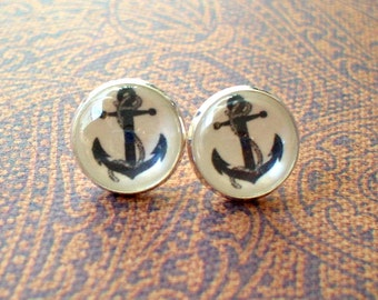 20% OFF- Black And White Anchor Cabochon Stud Earrings,Earring Post,Gift Idea