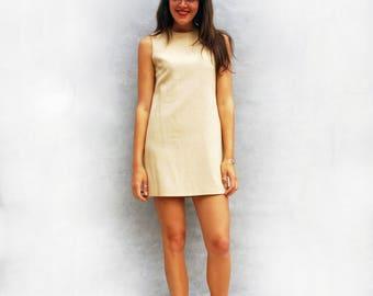 1960s Shift Dress, Vintage Pure New Wool Dress, 1960s Dress, Cream Smart Dress, Tailored Dress Sleeveless Dress, Wool Dress Wool Shift Dress