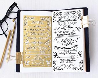 Planner Stencil, Bullet Journal Stencil, Brass Metal Stencil, Ornament Stencil - fits A5 journal & Midori  Regular (Ornament L)