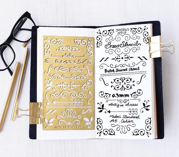 planner stencil bullet journal stencil brass metal stencil. Black Bedroom Furniture Sets. Home Design Ideas