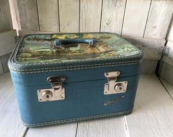 Vintage train case carry on luggage embellished map travel images smoky blue 1950s/ free shipping US