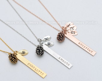 Personalized Vertical Bar Leaf Necklace, Pinecone Charm Custom Name Family Tree Necklace/ Mothers Day, Grandmother Gift, Bridesmaid 009-6